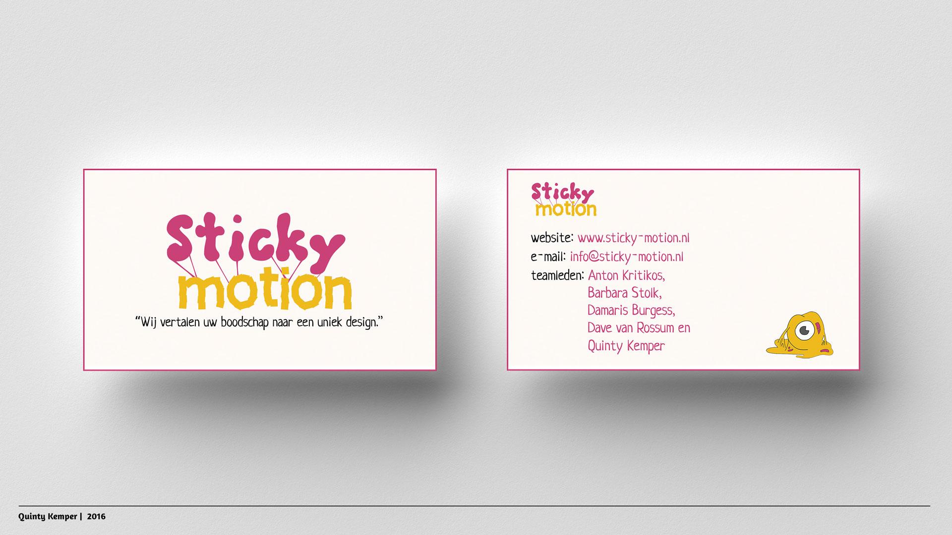 Quinty Kemper Portfolio 2016 Sticky-Motion vistekaartjes