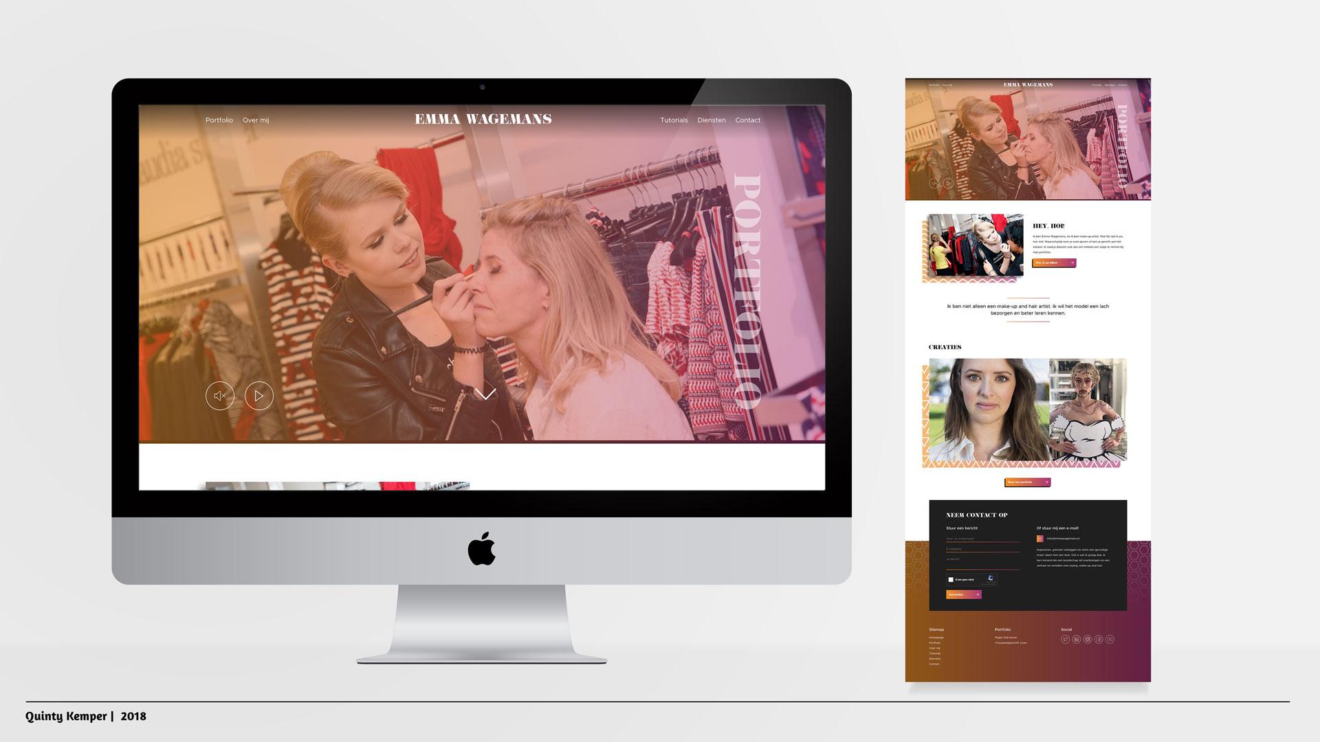 Quinty Kemper Portfolio 2018 Portfolio website Emma Wagemans Home pagina