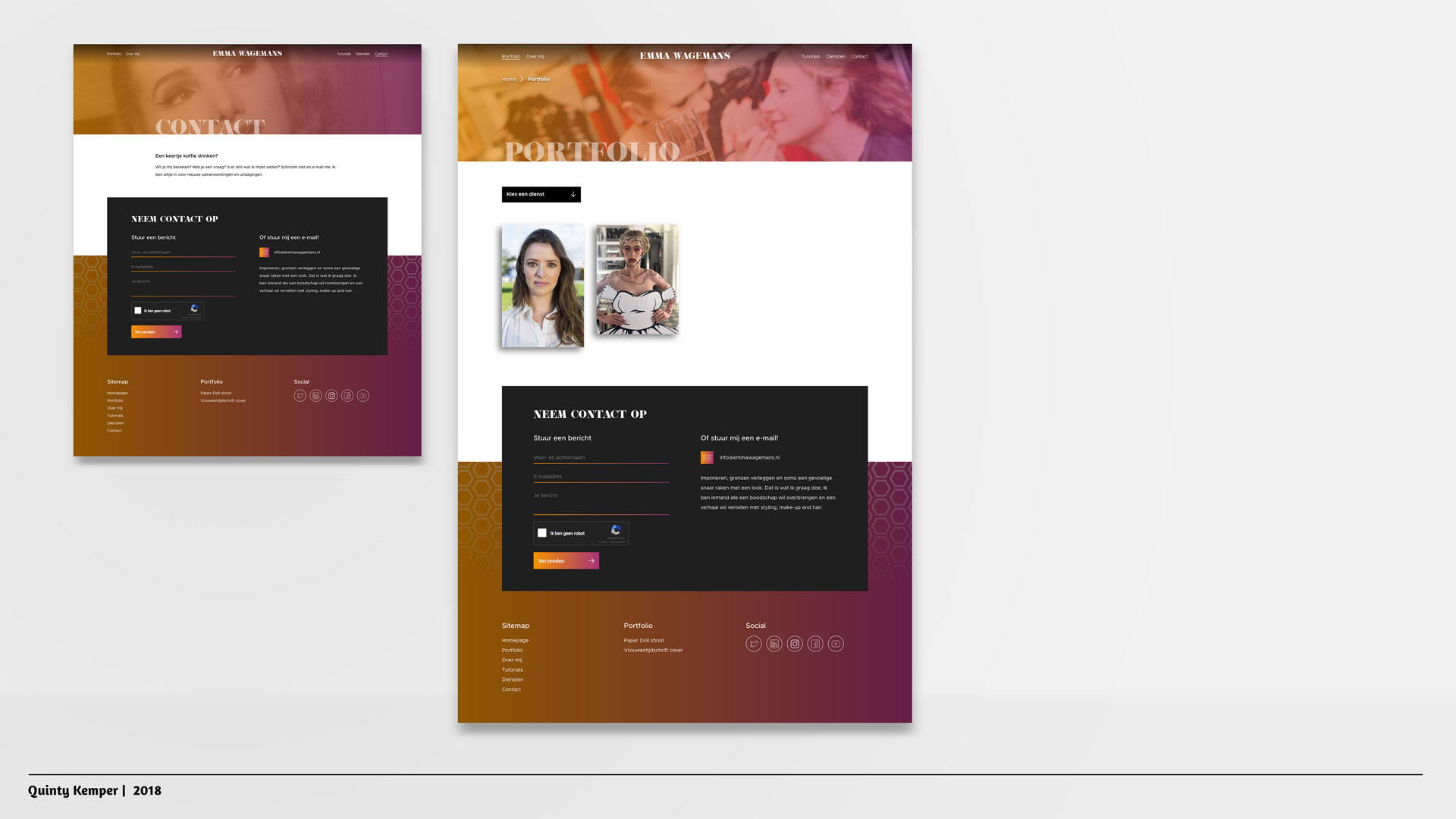 Quinty Kemper Portfolio 2018 Portfolio website Emma Wagemans pagina's